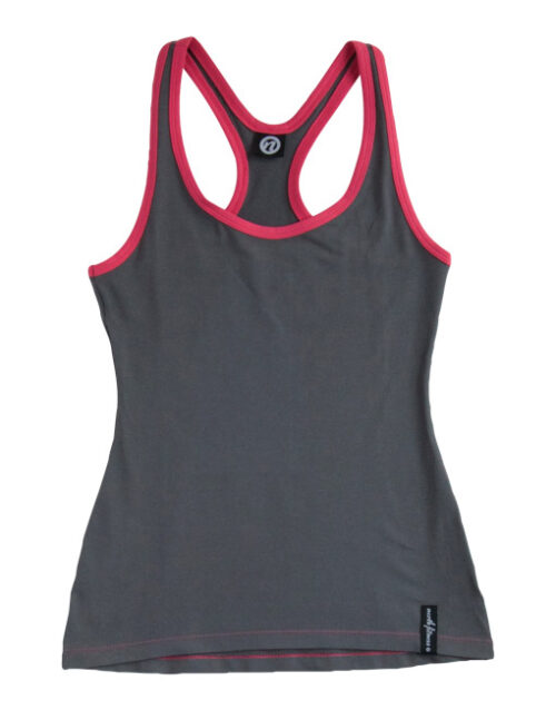 Stringer Y-Back Tank Top Dark Grey / Pink Ribb Front