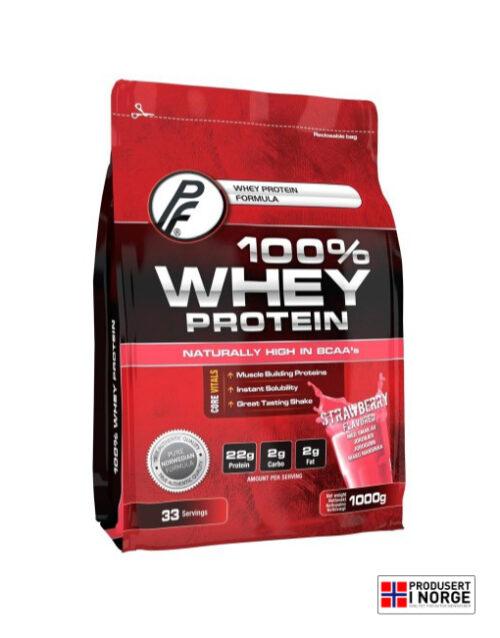 100% Whey Protein 1000g Jordbær Proteinfabrikken