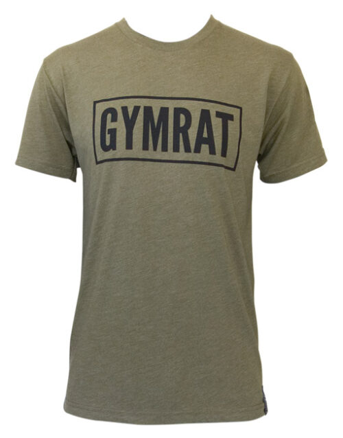 Gymrat Tee Millitary Green Tri-Blend Front