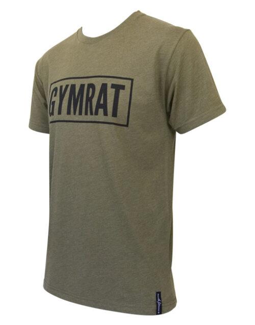 Gymrat Tee Millitary Green Tri-Blend Side